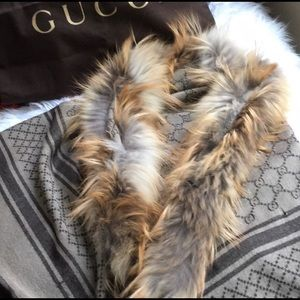 Gucci fur trimmed wool scarf